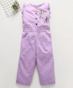 M'andy Unicorn Embroidery Sleeveless Jumpsuit - Violet