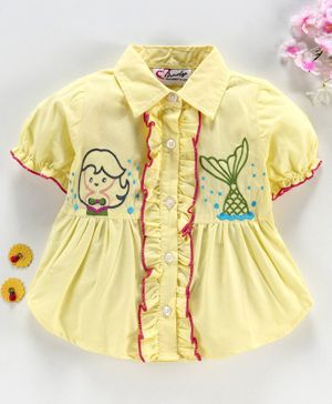 M'andy Mermaid Embroidered Short Sleeves Shirt - Light Yellow