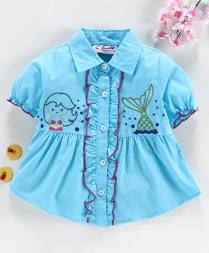 M'andy Short Sleeves Mermaid Embroidered Shirt - Blue