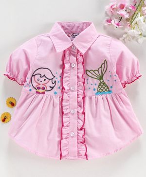M'andy Short Sleeves Mermaid Embroidered Shirt - Pink