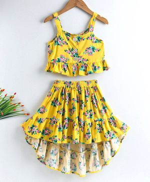M'andy Flower Print Sleeveless Top With High Low Skirt Set - Yellow