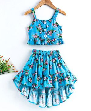 M'andy Flower Print Sleeveless Top With High Low Skirt Set - Blue