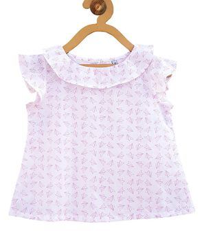 Campana Paper Plane Print Short Sleeves Top - White & Pink