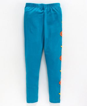 Kiddopanti Side Seam Star Printed Full Length Leggings - Blue