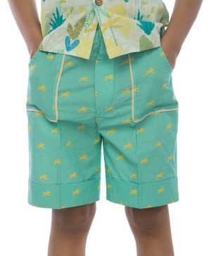 Miko Lolo Organic Cotton Dragon Fly Print Shorts - Green