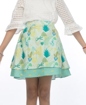 Miko Lolo Organic Cotton Double Layered Leaves Print Skirt - Blue