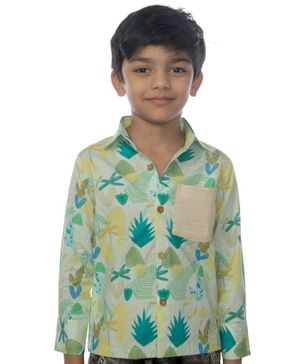 Miko Lolo Full Sleeves Elbow Patch Leaves Print Organic Cotton Shirt - Green