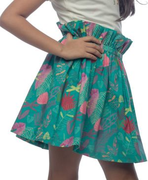 Miko Lolo Paper Bag Style Floral Print Organic Cotton Skirt - Green