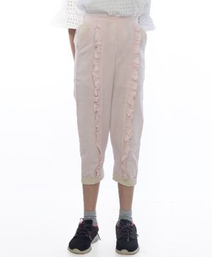 Miko Lolo Naturally Dyed Organic Cotton Full Length Frilled Pants - Pink