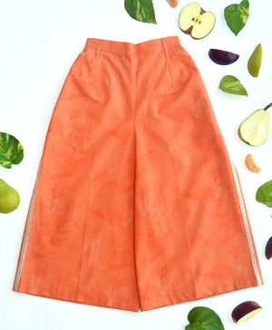 Miko Lolo Three Fourth Length Solid Culottes - Orange