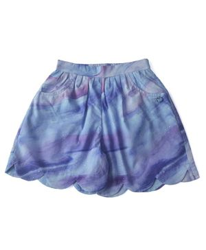 Miko Lolo Scallop Trimmed Organic Cotton Galaxy Print Shorts - Purple
