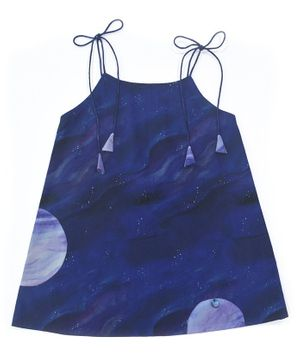Miko Lolo Sleeveless Spaghetti Tie Up Style A Line Hand Painted Organic Cotton Dress - Dark Blue
