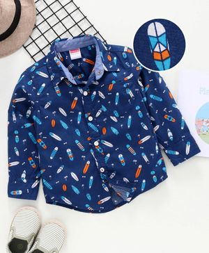 Babyhug Full Sleeves Shirt  Surfing Board Print  - Navy Blue