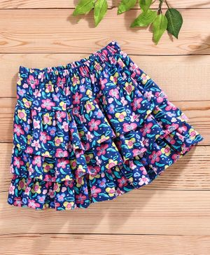 Babyhug Floral Printed Skirt - Blue