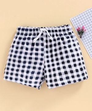 Babyhug Mid Thigh Length Checked Shorts - Blue