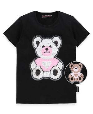 MAGIC TEES Half Sleeves Teddy Bear Reversible Sequinned Tee - Black