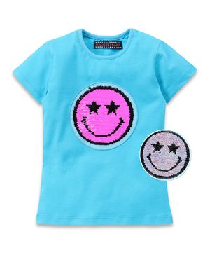 MAGIC TEES Half Sleeves Reversible Sequinned Smiley Tee - Blue