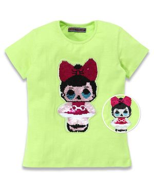 MAGIC TEES Half Sleeves Reversible Sequinned Doll Patch Tee - Green