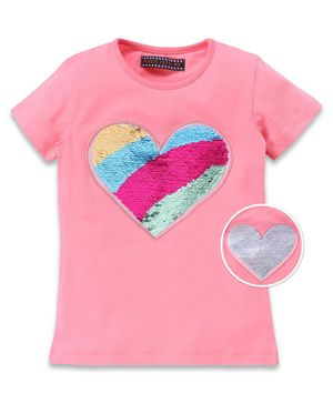 MAGIC TEES Half Sleeves Heart Reversible Sequinned Tee - Pink