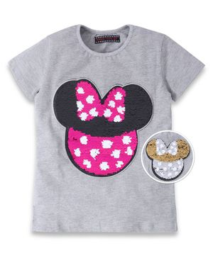 MAGIC TEES Half Sleeves Mouse Reversible Sequinned Patch Tee - Grey