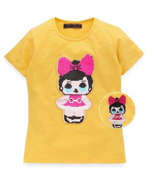 MAGIC TEES Half Sleeves Reversible Sequinned Doll Patch Tee - Yellow