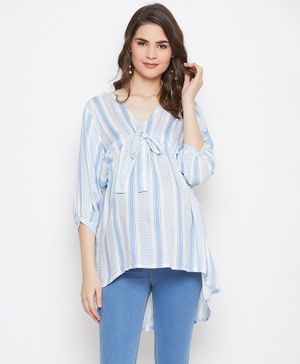The Kaftan Company Zig Zag Printed Three Fourth Sleeves Maternity Top - White