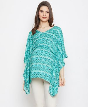 The Kaftan Company Printed Three Fourth Sleeves Maternity Top - Sea Green