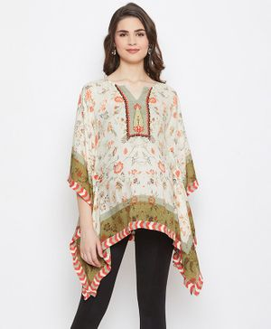 The Kaftan Company Palampore Printed Three Fourth Sleeves Maternity Kaftan Top - Off White