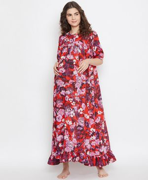 The Kaftan Company Floral Printed Half Sleeves Maternity Night Dress - Red