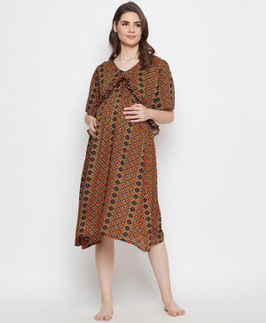 The Kaftan Company Flowers Printed Half Sleeves Maternity Night Dress - Multicolor