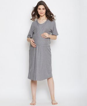 The Kaftan Company Solid Half Sleeves Maternity Night Dress- Grey