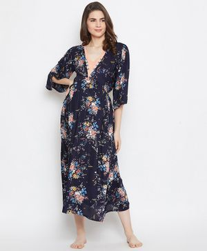 The Kaftan Company Flower Printed Three Fourth Sleeves Maternity Feeding Night Dress- Navy Blue