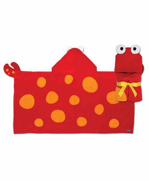 Stephen Joseph Hooded Cotton Towel Crab Design - Red