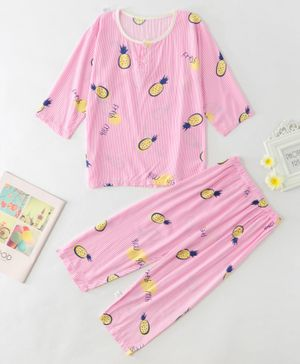 Kookie Kids Full Sleeves Night Suit Pineapple Print - Pink