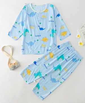 Kookie Kids Full Sleeves Night Suit Dino Print - Blue