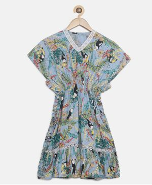 The Kaftan Company Half Sleeves Tropical Print Kaftan Maxi Dress - Blue