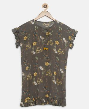 The Kaftan Company Flower Printed Short Sleeves Dress - Brown