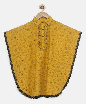 The Kaftan Company Short Sleeves Cards Printed Kaftan Top - Yellow