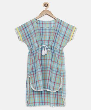 The Kaftan Company Short Sleeves Colourful Checkered Kaftan Dress - Light Blue