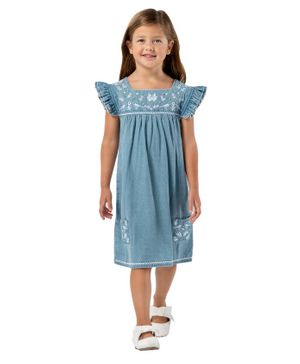 Cherry Crumble by Nitt Hyman Cap Sleeves Rider Dress - Blue