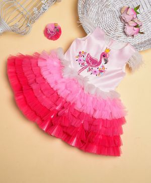 Teeni's Kidswear Sleeveless Flamingo Patch Tulle Flare Dress With Hair Clip - Pink