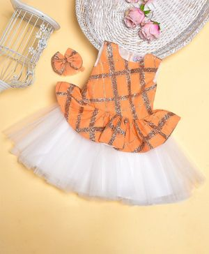 Teeni's Kidswear Sleeveless Peplum Style Checked Glitter Finish Dress - Orange