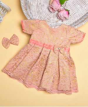 Teeni's Kidswear Full Sleeves Floral Lace Work Dress With Hair Clip - Peach