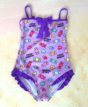 Cherry Blossoms Sleeveless Candy Printed Swimsuit - Purple