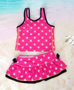 Cherry Blossoms Sleeveless Star Printed Two Piece Swimsuit - Pink