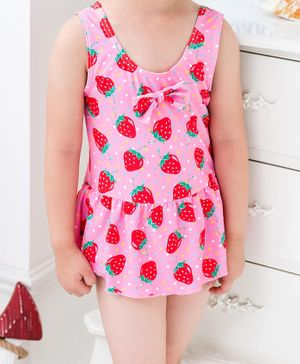Cherry Blossoms Sleeveless Strawberry Print Frock Swimsuit - Pink