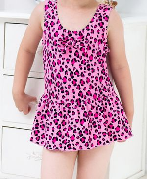 Cherry Blossoms Sleeveless Leopard Printed Frock Swimsuit - Pink
