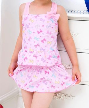 Cherry Blossoms Bow Print Sleeveless Two Piece Swimsuit - Pink