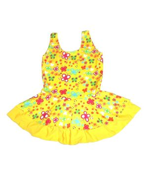 Cherry Blossoms Flower Print Sleeveless Swimsuit - Yellow