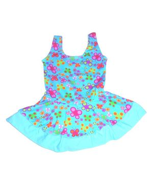 Cherry Blossoms Flower Print Sleeveless Swimsuit - Blue